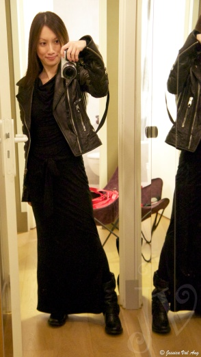 Fluxus dress from ShopBop, Balenciaga moto jacket, Frye Carmens in Black.