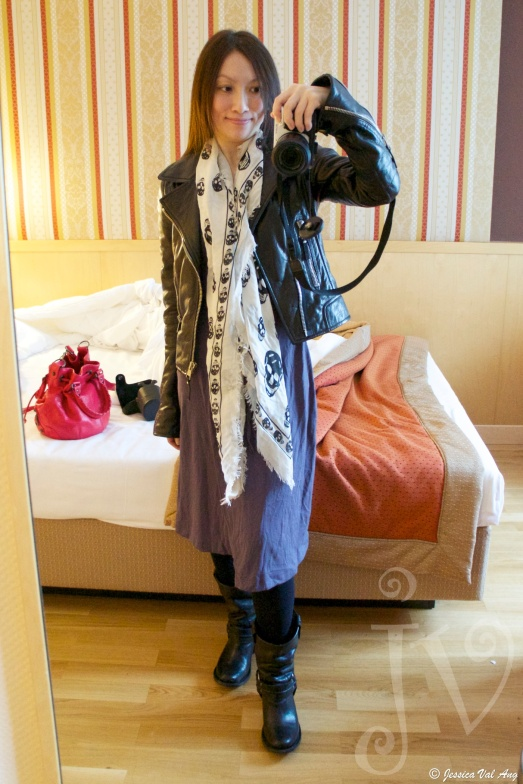 Balenciaga moto jacket, Alexander McQueen cashmere blend scarf, dress from Revolve (can't remember brand), Frye Carmen Short boots.